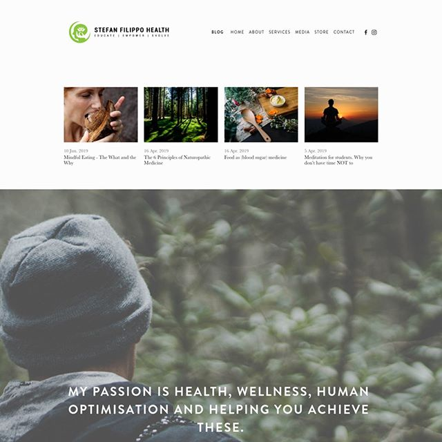 A super easy to navigate website for @stefanfilippohealth 🍄