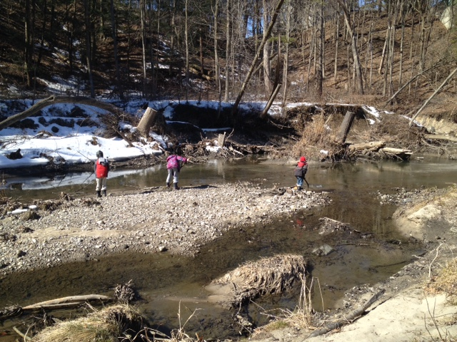 Explore outdoors. Float sticks and ice. Throw rocks. We even found rocks with fossils.
