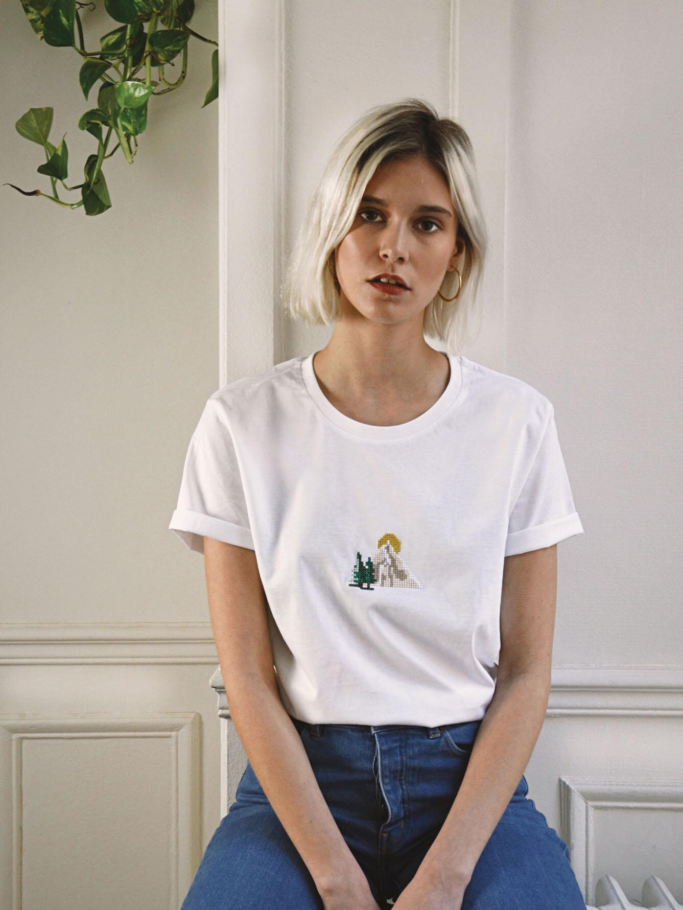 "T-shirt ""Montagne"" blanc"