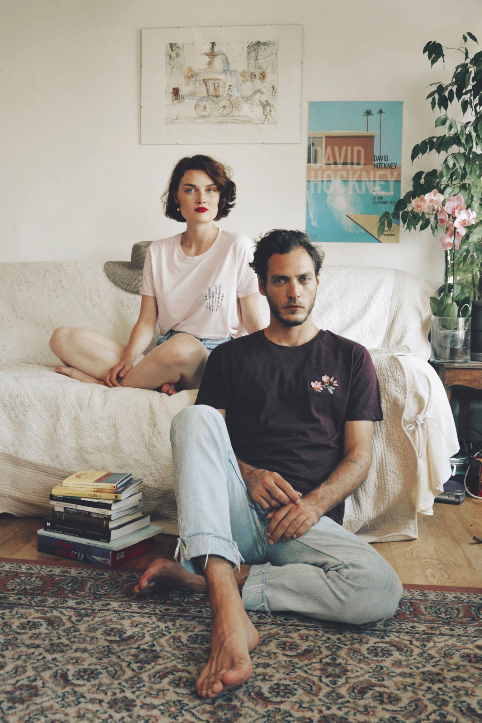"""T-shirt """"Lavande"""" rose pastel / t-shirt """"Magnolias"""" prune chiné"""