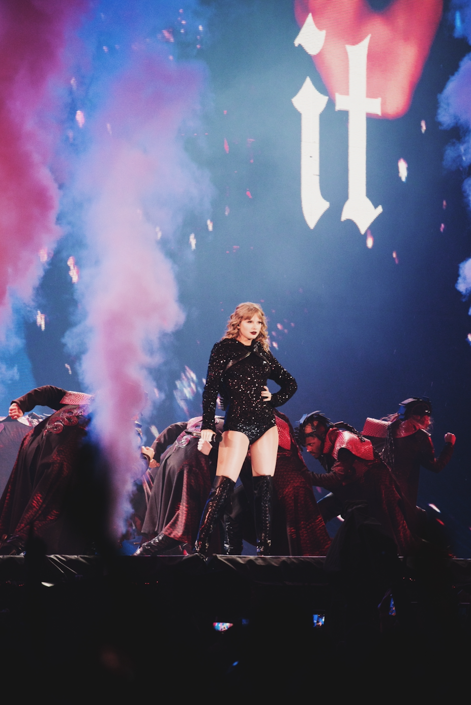 Taylor Swift performing at NRG Stadium in Houston, TX.