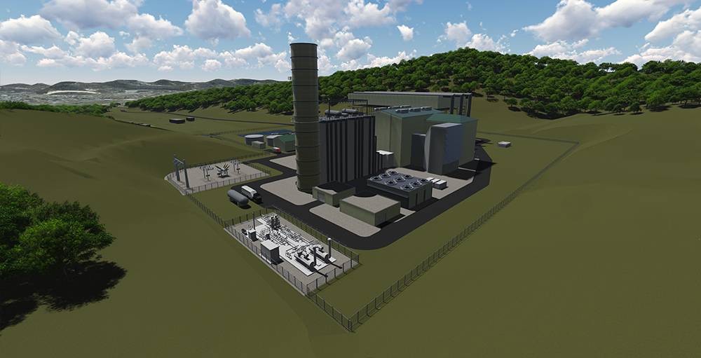 Harrison County Power Rendering  1x1 single-shaft GE HA.02 with ACC