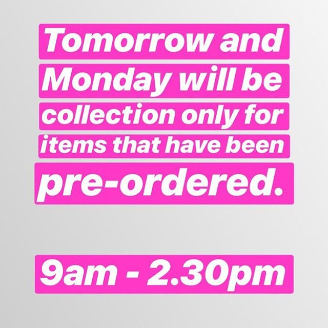 Tomorrow and Monday is collection only on pre ordered bouquets and arrangements, 9am - 2.30pm xx