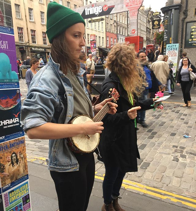 Busking   Flyering. Find us around town from 17:30-18:30 for some original tunes before our show!  #edfringe2019 #womenintheatre #womenoffringe