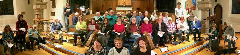 St. John's Choir, in the sanctuary at the first recording session, Wednesday, October 17, 2018