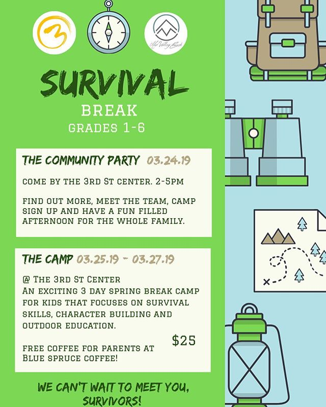 SURVIVAL BREAK 🥾🏔Know of any kids that need something to do over spring break? Free coffee for all the parents too! ☕️ Come by @thirdstreetcenter this sunday for the community party to find out more and sign up - fun for the whole family!  Hosted by Blue Spruce Coffee and Mid Valley Church.