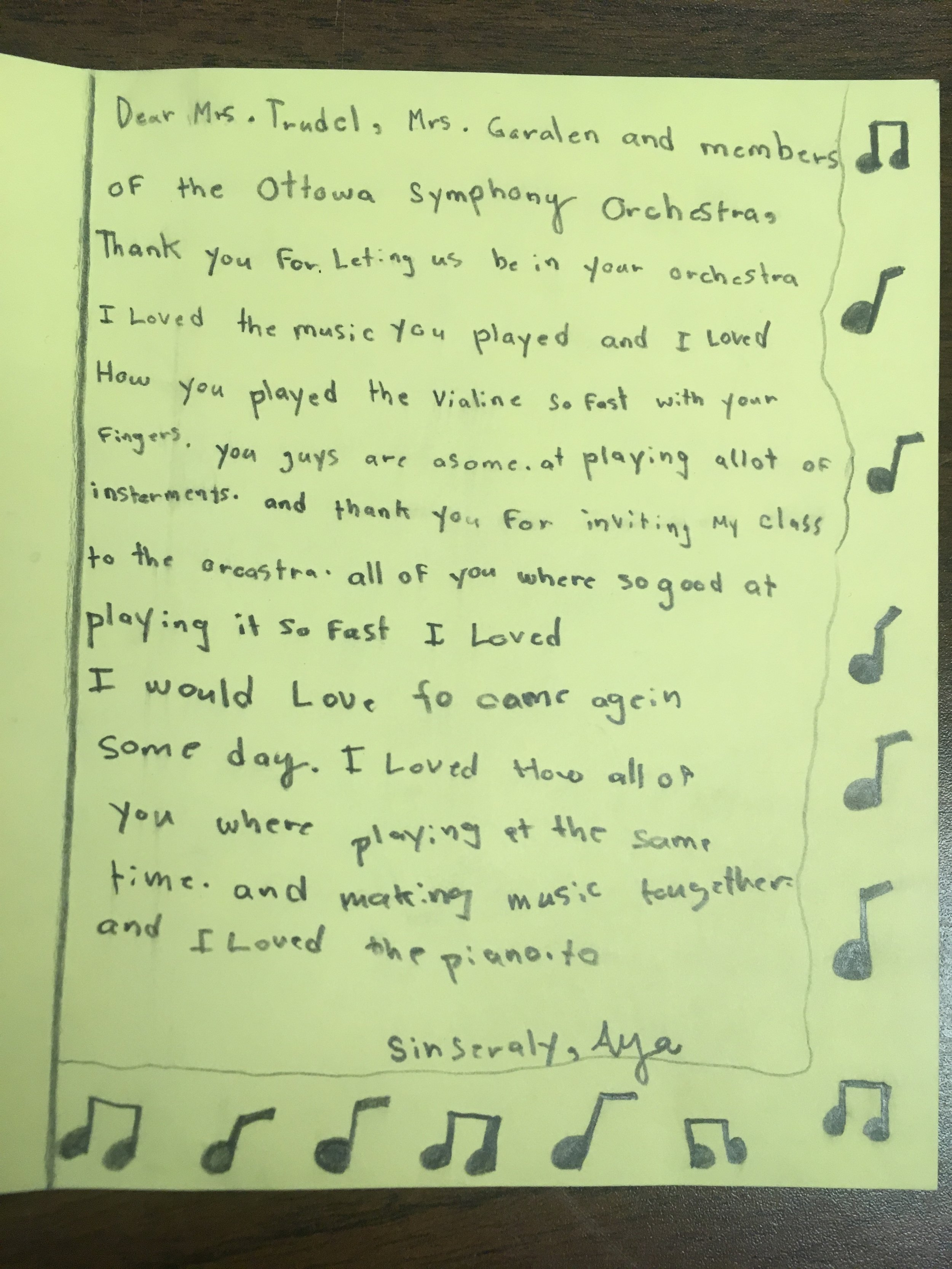 """- """"I love how all of you were playing at the same time, and making music together""""- Aya, grade 5 student, Pinecrest Public School"""