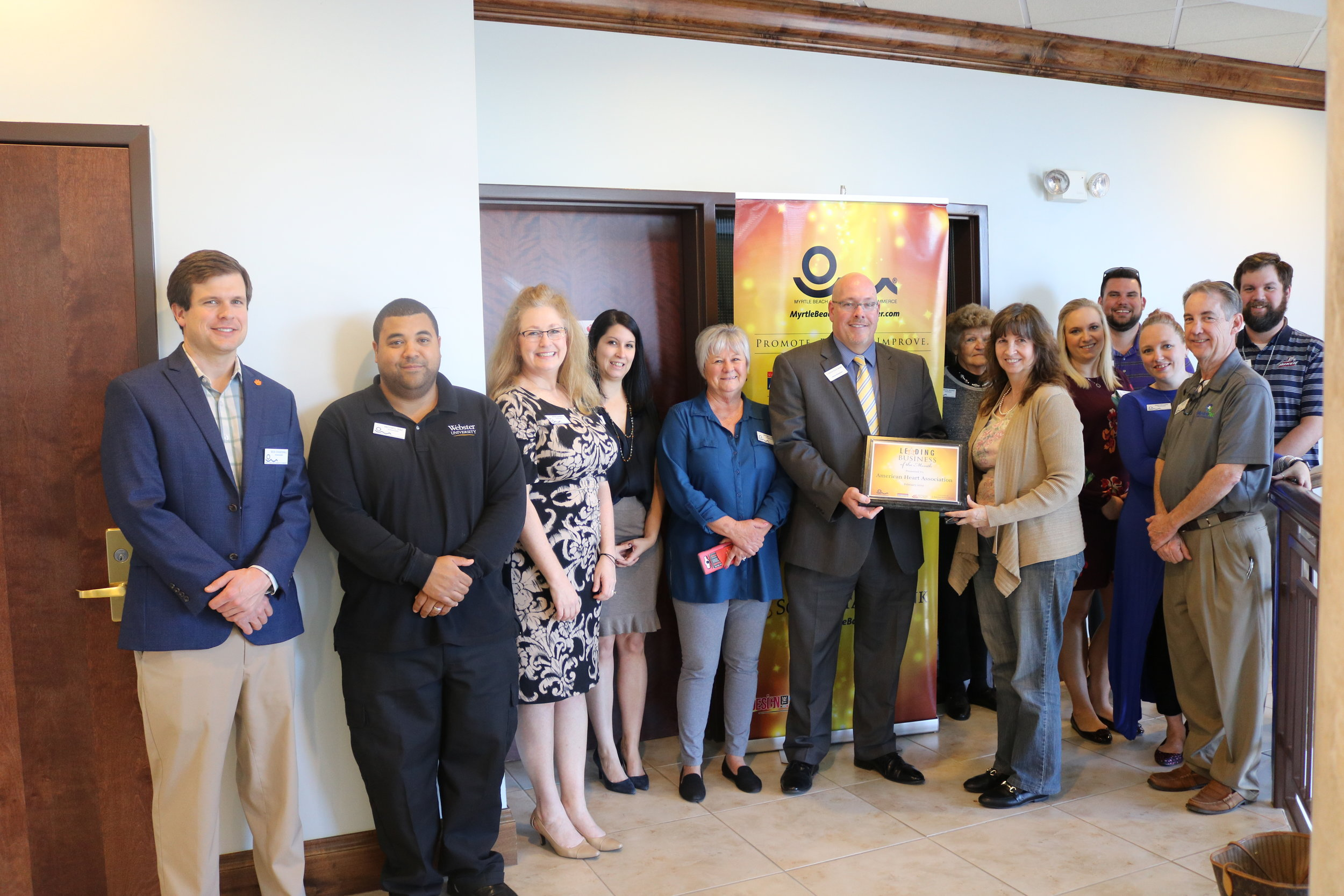 South State Bank and MBACC ambassadors during the presentation of the February Leading Business of the Month presentation to the American Heart Association.