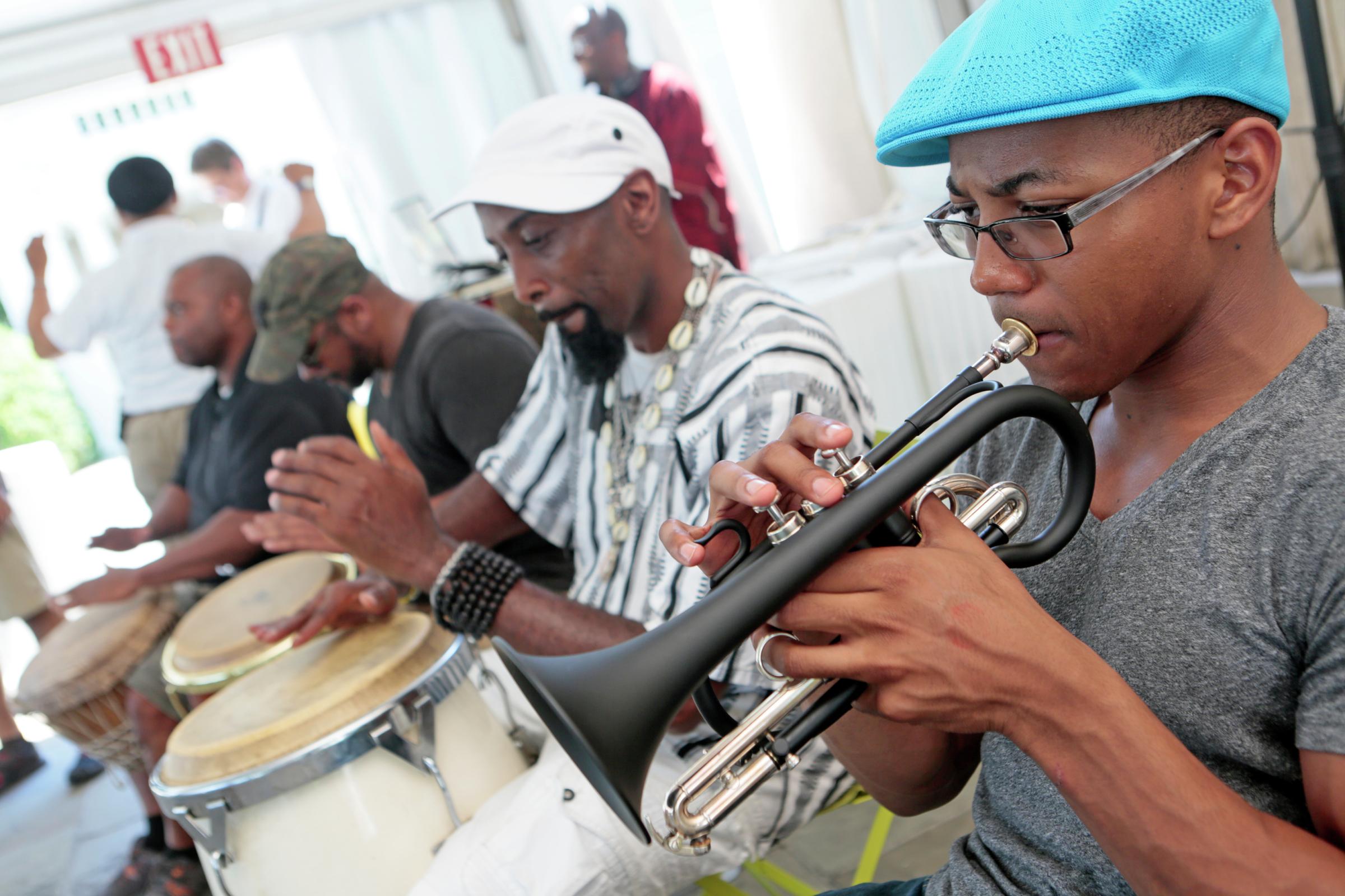 (L2R): participant drummer, Carlos Funn, Alfumega Enoch, Victor Haskins