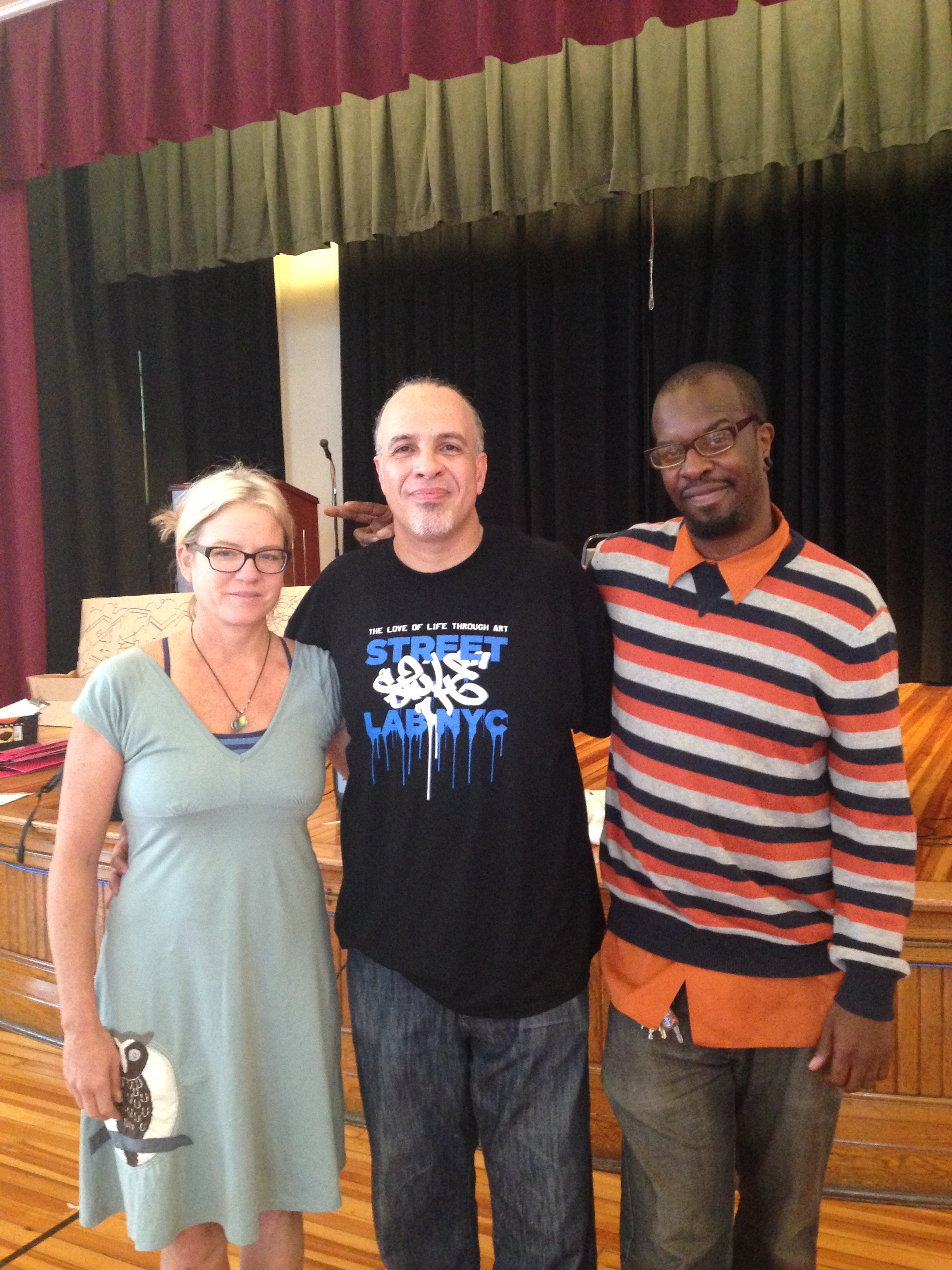(L2R): Anne Chamblin, Pop Master Fable, Mikemetic after Fable's workshop at Patrick Henry School of Science and Art (2014)