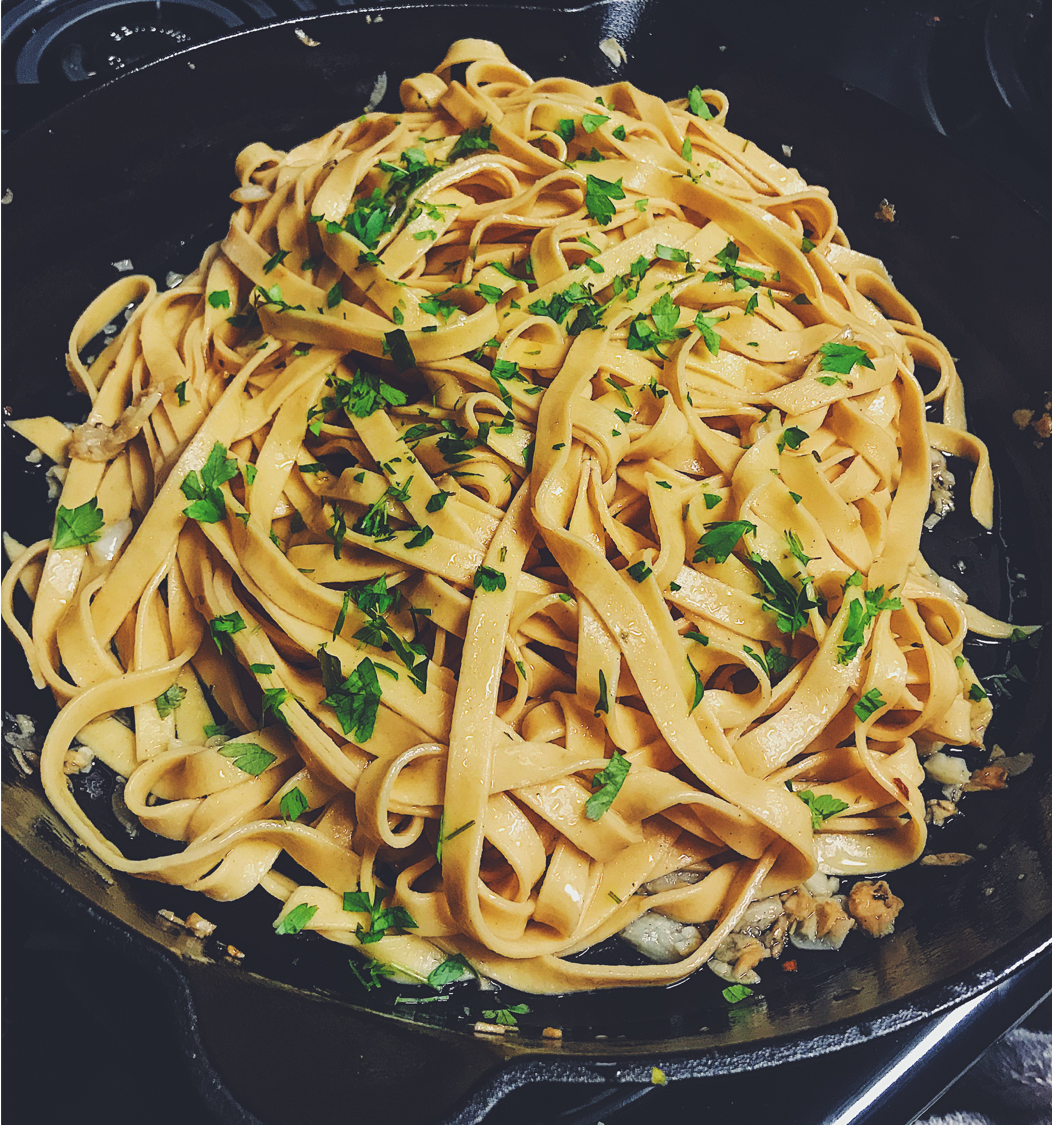 Kitchen Scratch Homemade Paprika Fettuccine Aglio Olio