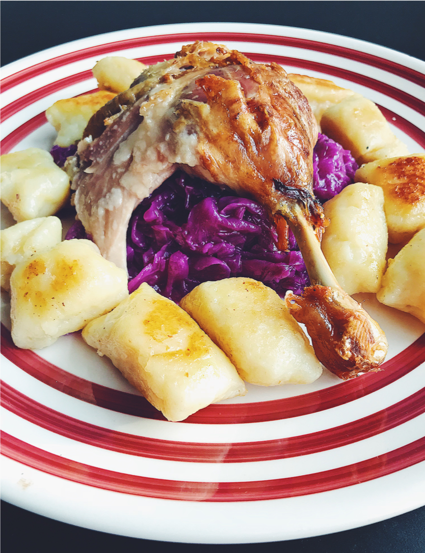 Kitchen Scratch Roast Duck with Red Cabbage and Potato Dumplings