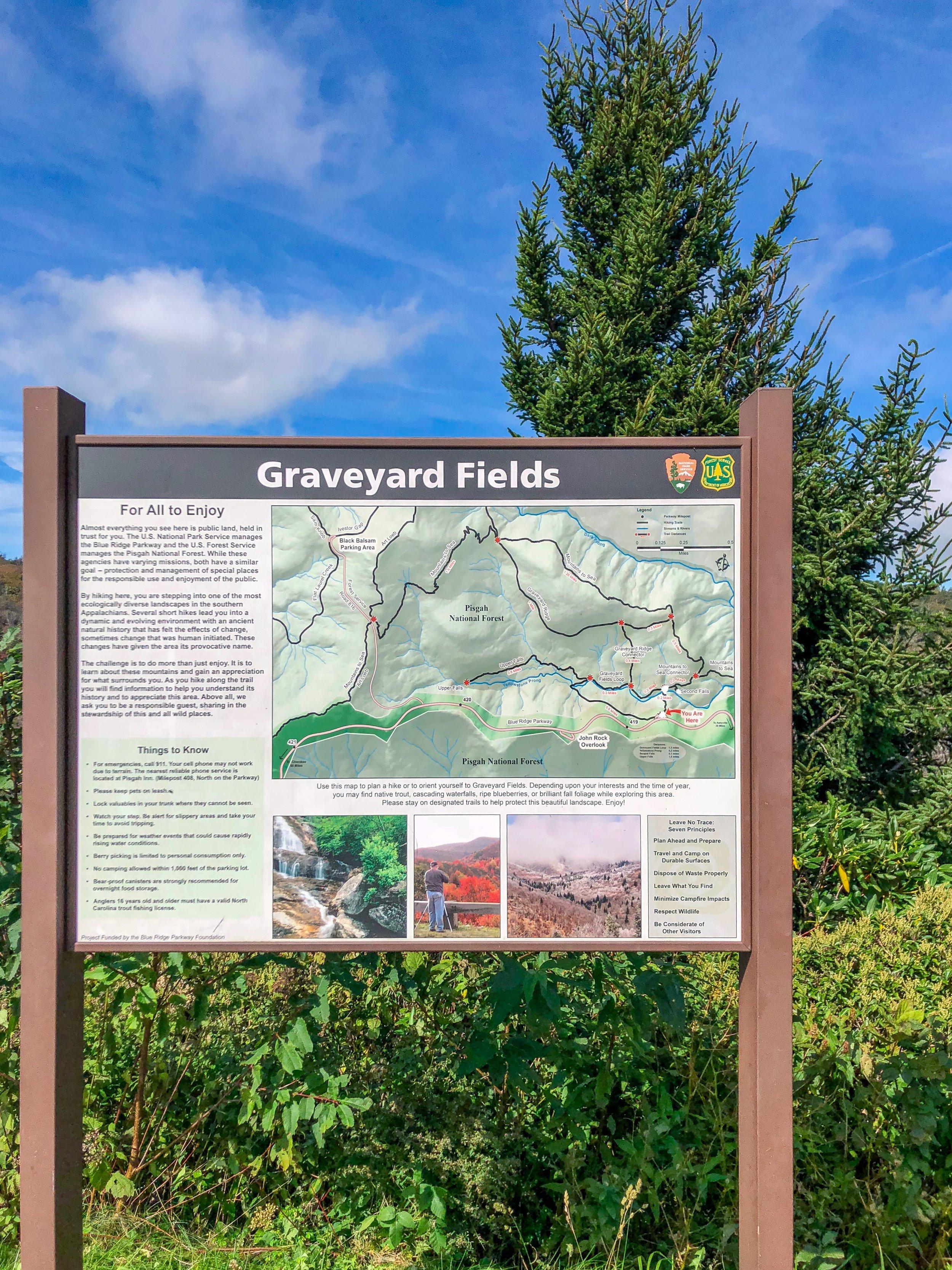 Graveyard Fields Trail Head Map