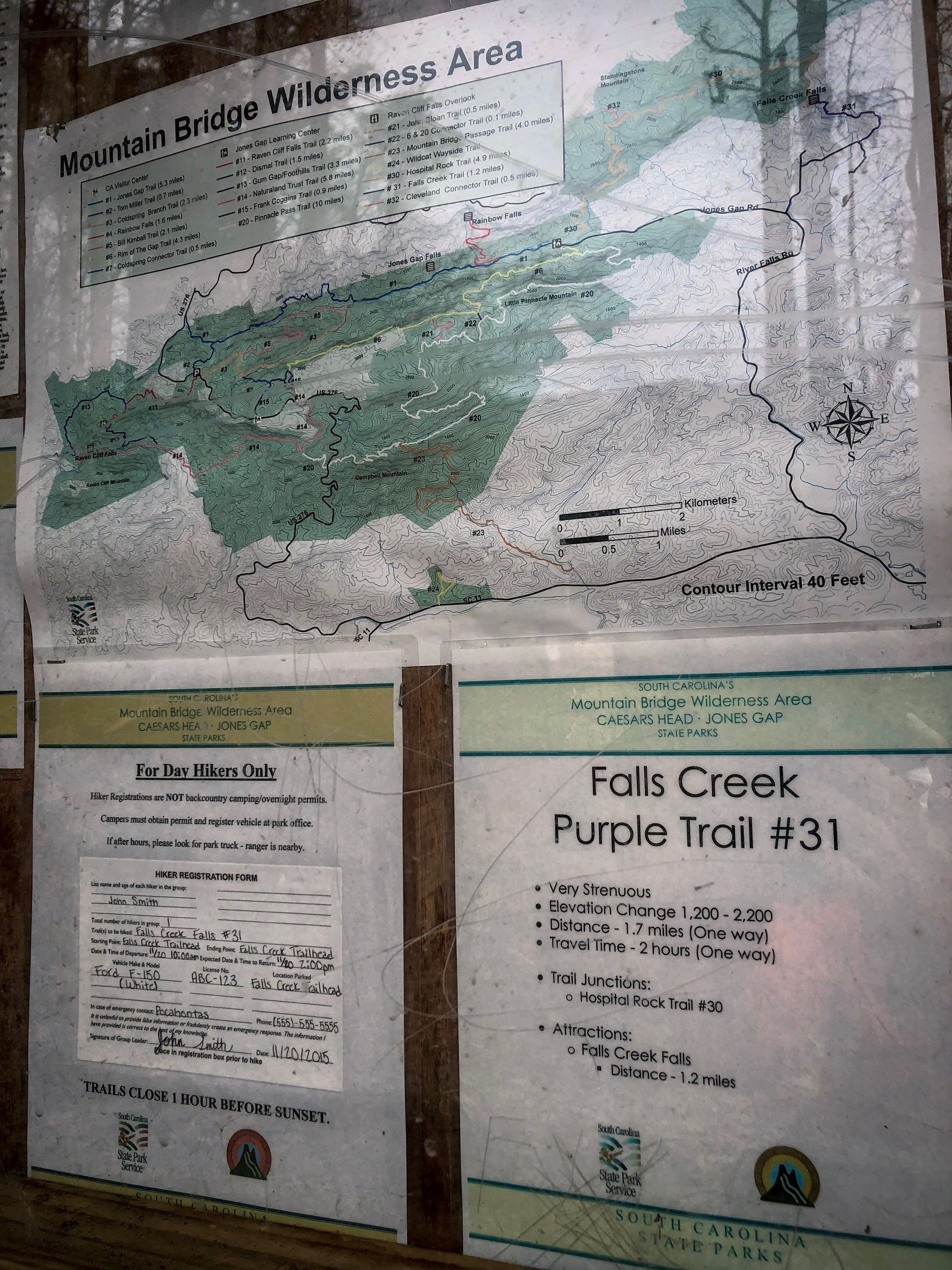 Falls Creek Trail Map