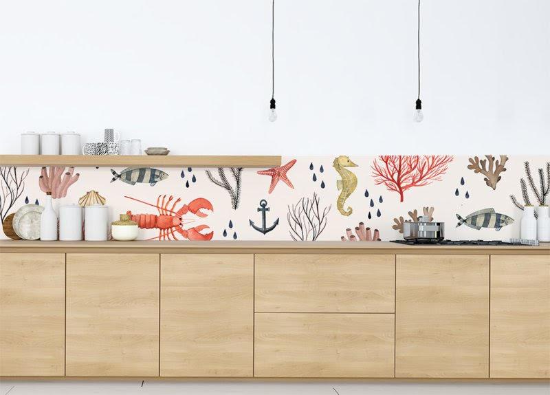 Keukenbehang 'Sealife' voor Behangfabriek ( https://www.behangfabriek.com/c-3069536/valesca-van-waveren/ )
