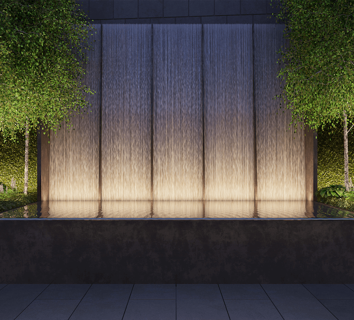 Exterior water feature at 111 Murray.