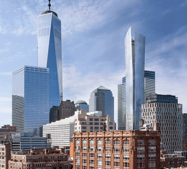 View of downtown Manhattan skyline featuring 111 Murray and One World Trade Center.