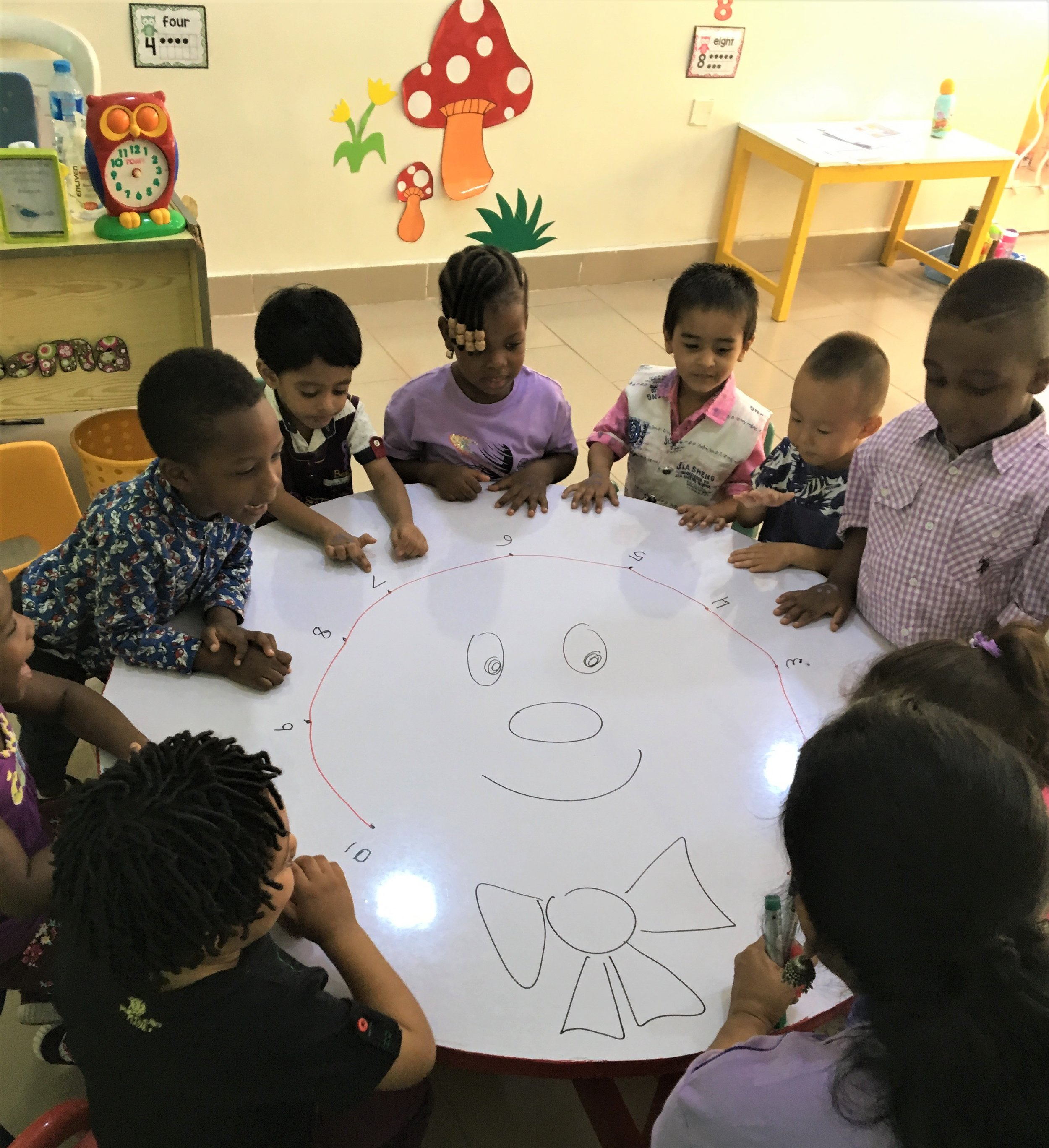 Nursery kids connecting dot to dots in Ms. Seema's class!