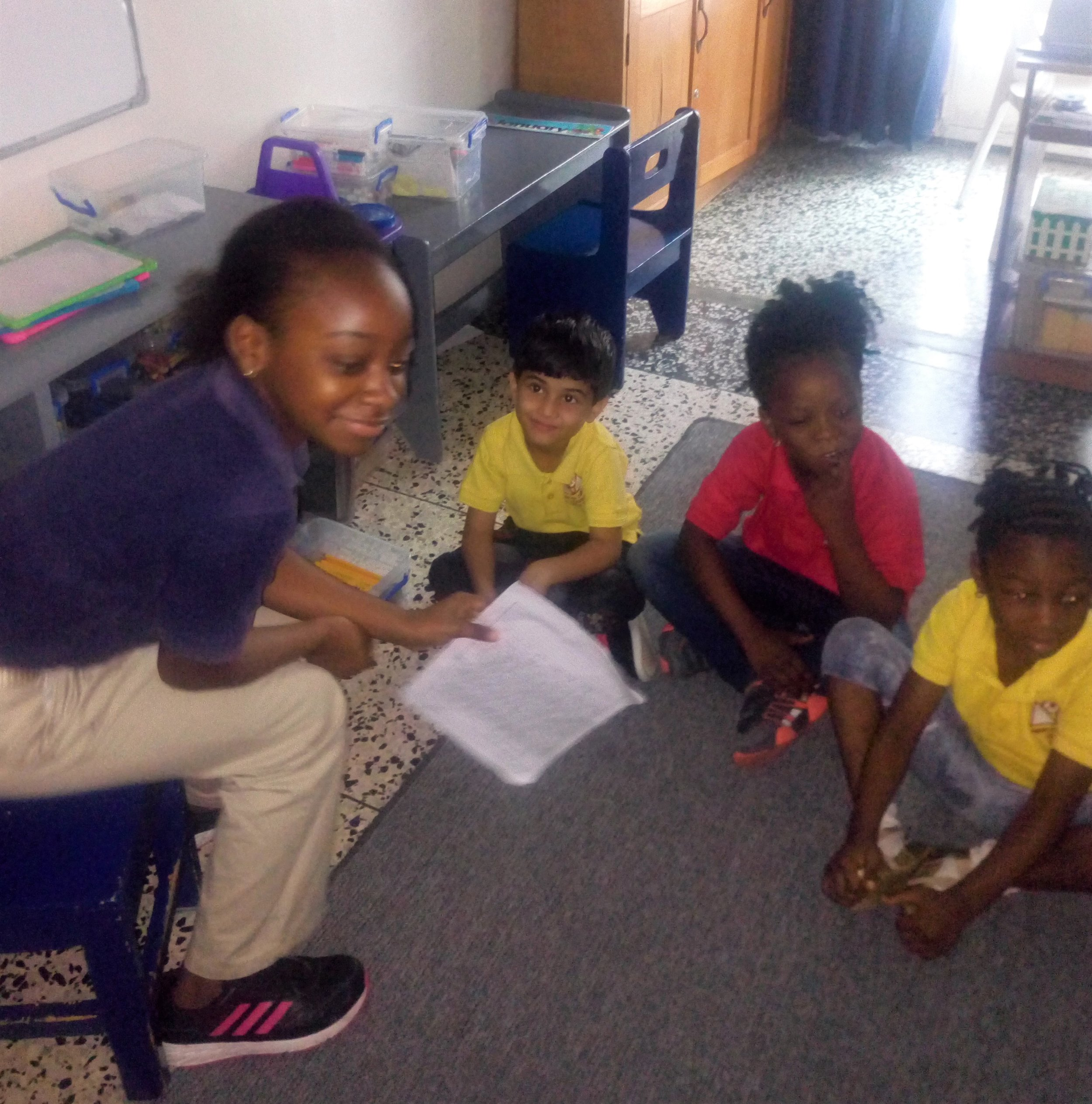 4th graders visited Kg classes and read their original stories to the little ones.