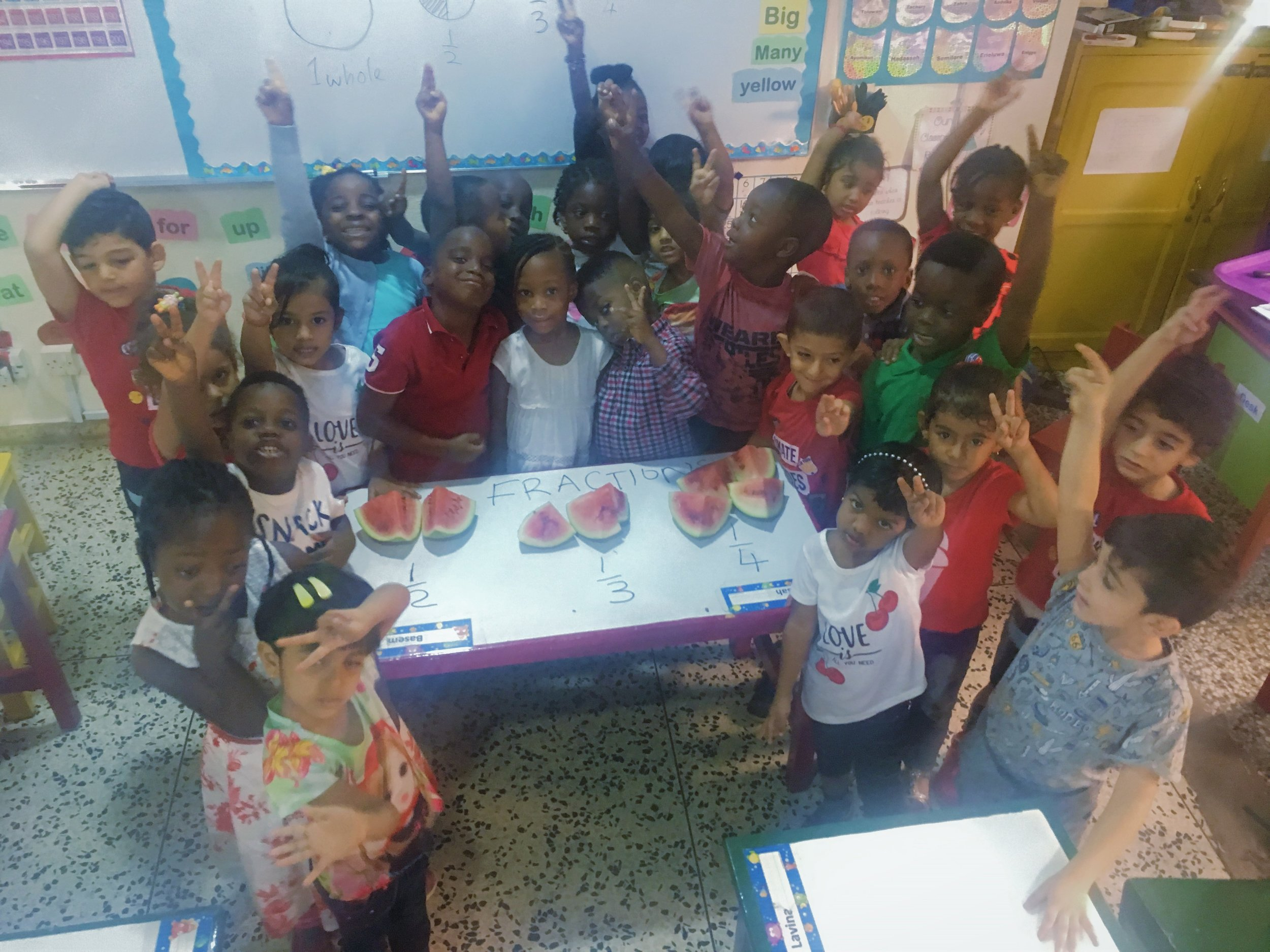 Learning fractions with watermelon in PreKg!