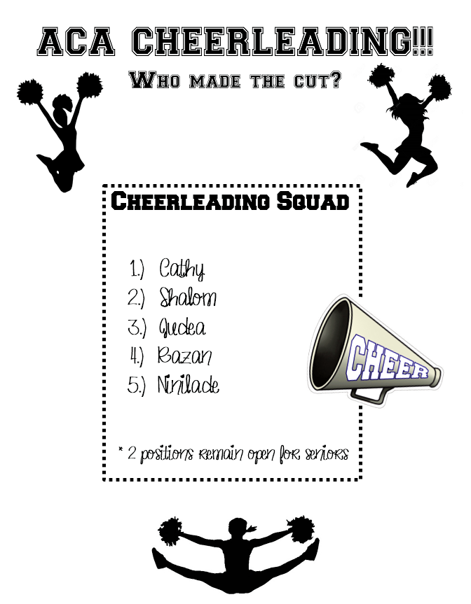 Cheer leading try-outs were a great success!We still have two positions open for senior school girls if you're ready to step boldly out of your comfort zone and try something new!Come on out and make life-long friends and unforgettable memories!! -