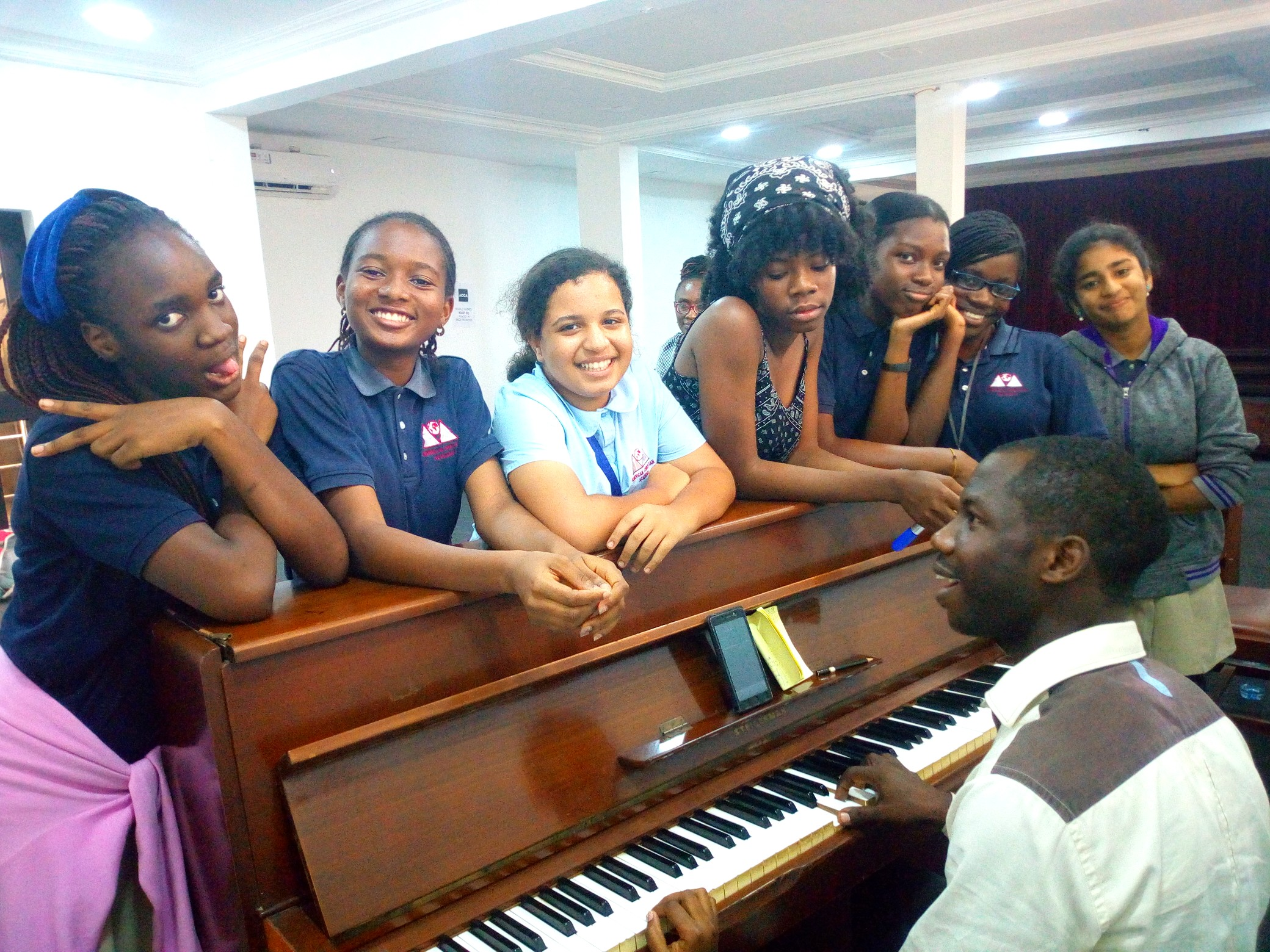 Vocal Performance Club preparing for their performance at Bethel American International School.
