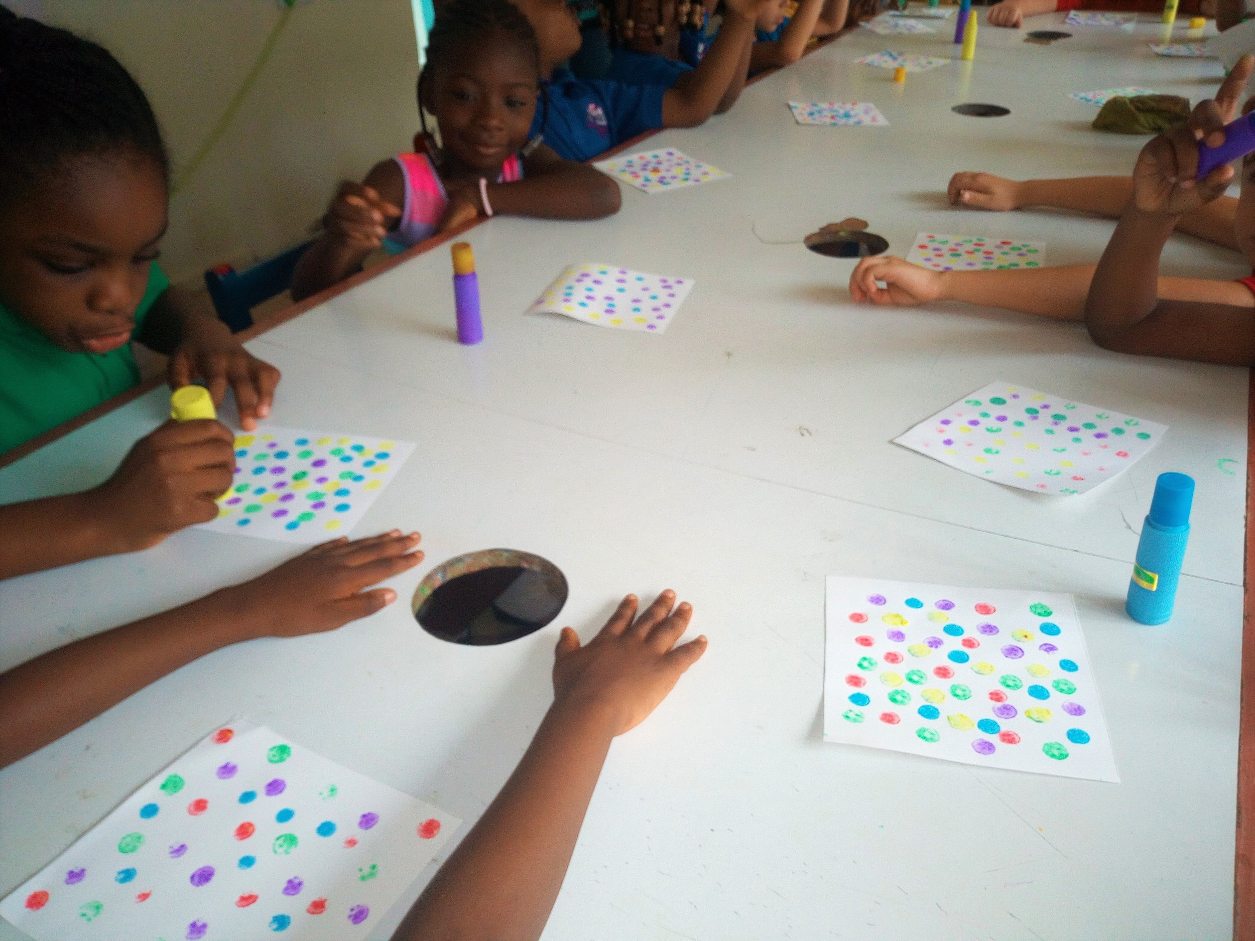 KG: Dot paintings for a Positive and Negative Space art project!