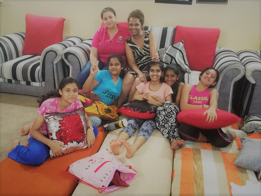 Hindi Club students enjoyed watching Hindi movies, playing lots of games, dancing, and cooking breakfast during the sleepover on Friday, March 29 @Mrs. Raj's residence.