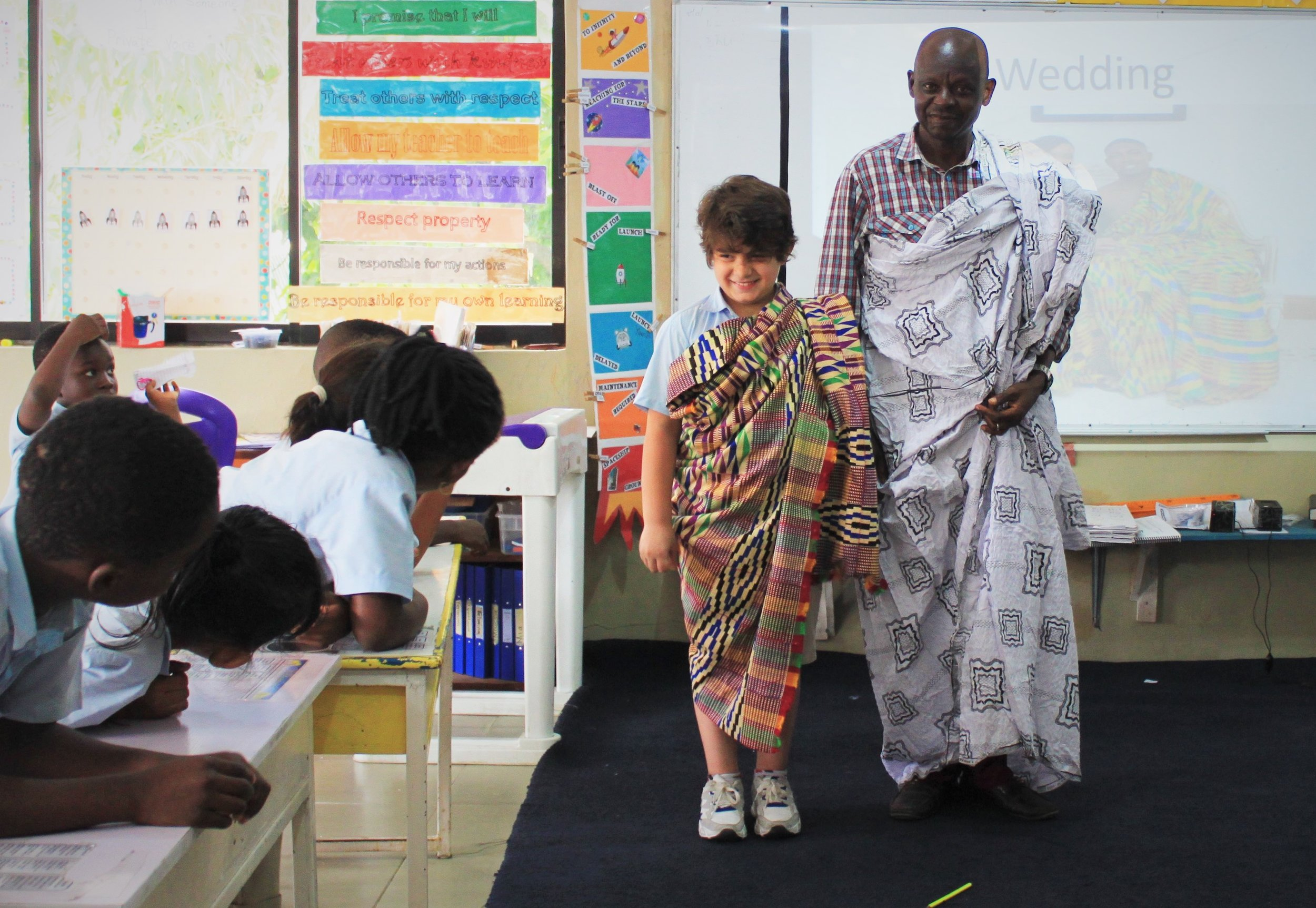 Thanks to Mrs. Vic and Mr. Charles for sharing everything they know about Ghana with our 1st graders!