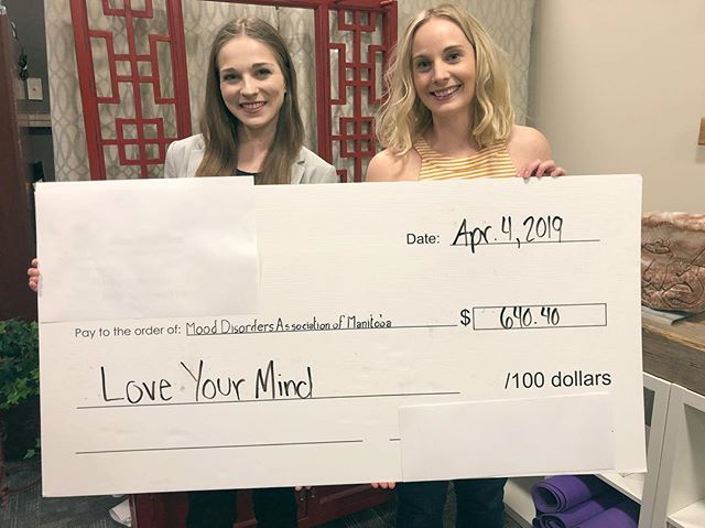 Donated over $600 to @mooddisordersmb today from this project! The past year has been a whirlwind but I'm so happy you came for the ride with us. Our workshops and fundraiser were successes and I can't wait to hold more of them for you. ✨  There will definitely be more coming from @loveyourmindwpg in the future and I'm so excited to see where it'll go! Also, a massive thank you to @rachelwestman for all of the support in this project. 💕  What would you like to see from Love Your Mind in the future? Let me know - I'd love some suggestions! 💕 In the mean time, we won't be going anywhere 🤗