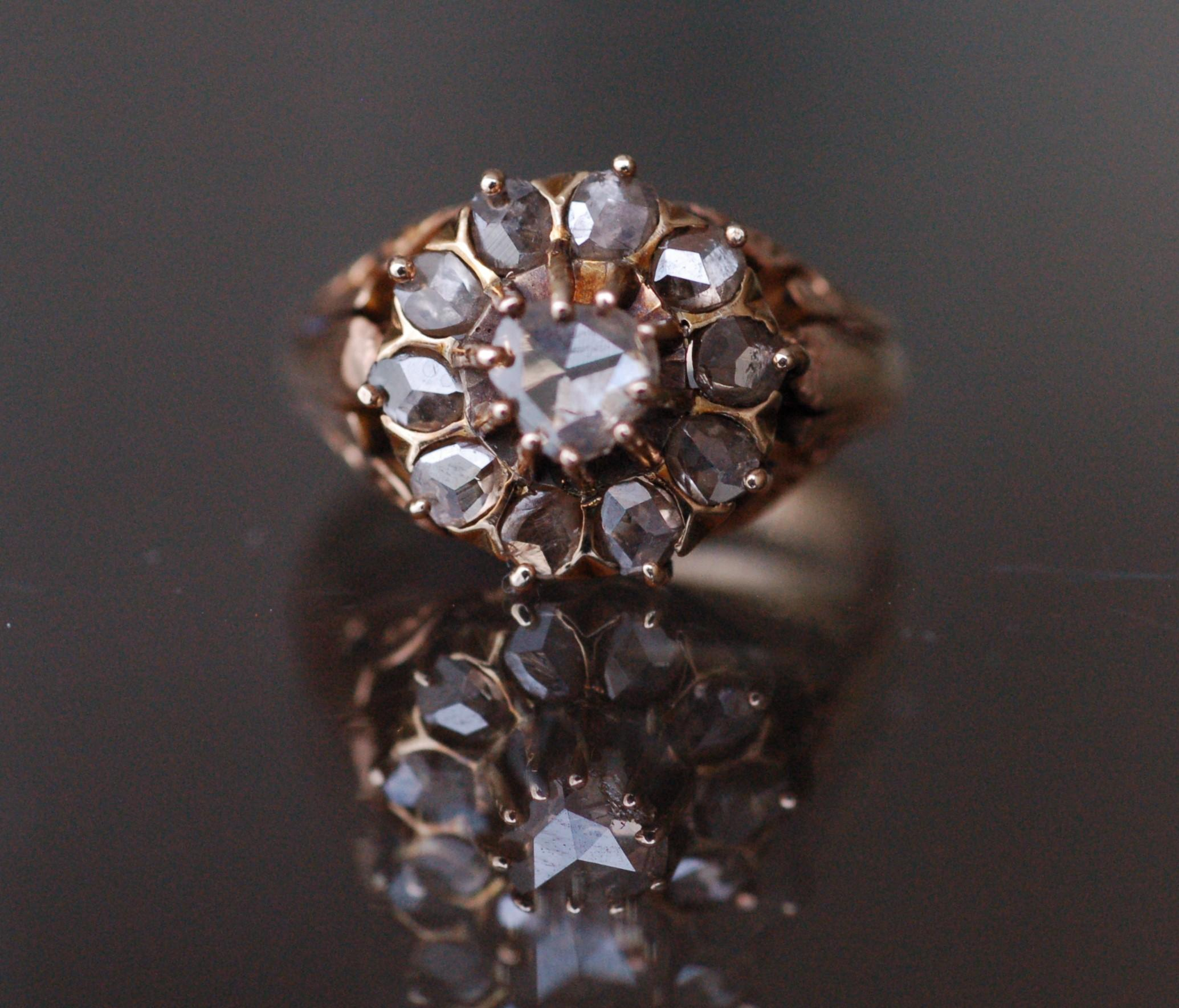 Victorian Rose Cut Cluster ring