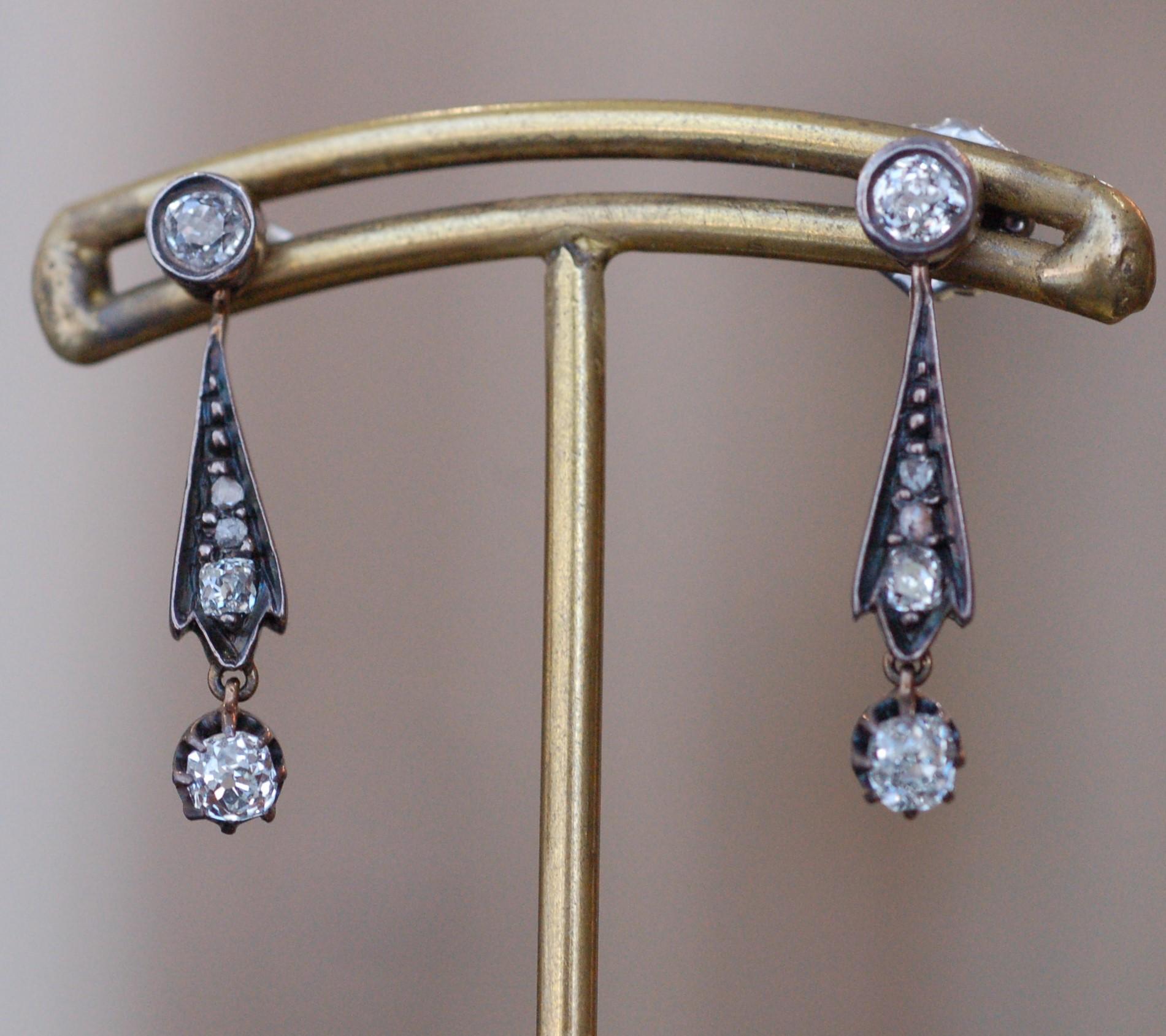 Edwardian Mine and Rose Cut Diamond Earrings