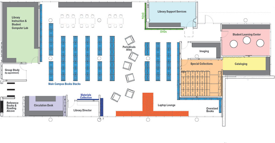 The workshops will be held by the SLC, but we will meet in the Library Computer Lab! Please refer to the map for more detailed directions.