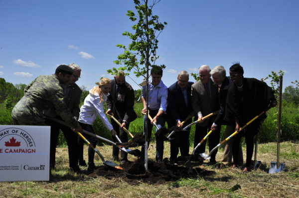 L-R: Leo Hawkes, Managing Director, Volvo Financial Services, Corporal Nick Kerr, Right Honourable Justin Trudeau, Prime Minister of Canada, The Hon. Lawrence MacAulay, Minister of Veterans Affairs Don Mitchell, Mayor of Whitby Mark Cullen, Campaign Chair, Highway of Heroes Tree Campaign