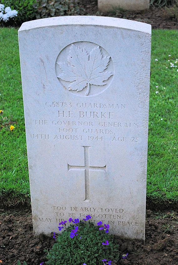 Herman Burke's headstone (Calvados, 1993).jpg