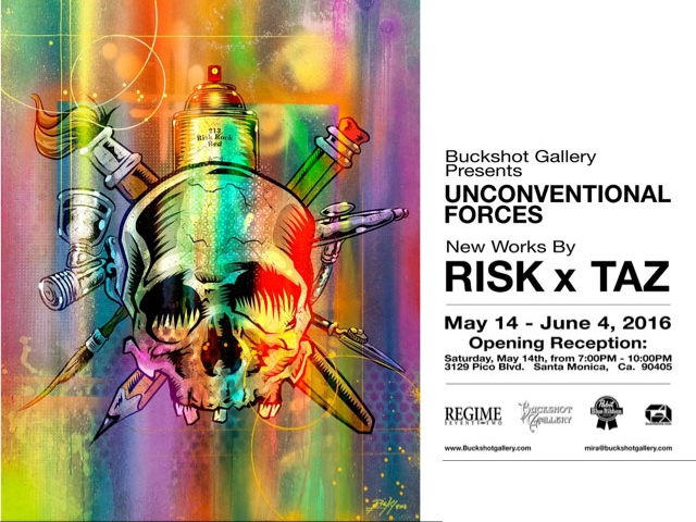 """Unconventional Forces - May 14 - June 4, 2016Buckshot Gallery presents, in association with Eddie Donaldson, co founder of GuerillaOne and long time Los Angeles art community supporter, a collaborative exhibition between acclaimed artist and printmaker TAZ and graffiti icon RISK, showcasing a selection of collaborative posters, originals and other genre related printed ephemera, created exclusively for """"Unconventional Forces""""."""