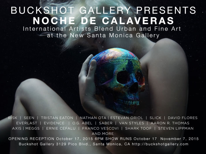 """Noche De Calaveras - October 17, 20152:00 PM 3:00 PMGraffiti artist and innovator RISK has announced the grand opening of Buckshot Gallery in Santa Monica, California. The gallery will feature a balanced blend of both urban and fine art, and is set to have its first exhibition on October 17th, 2015. The exhibition is titled """"Noche De Calaveras"""" and will be curated by RISK. Attendees can expect to see works from some of the most renowned artists and photographers. The mixed media pieces will consist of painted skulls and photographic concepts as seen through the eyes of the artists."""