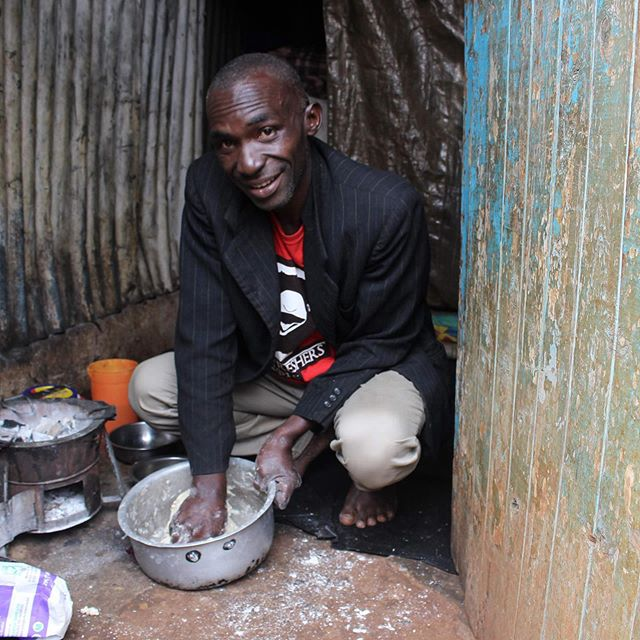 "Meet Robert, a refugee from Congo, who arrived in Nairobi with his wife and eight children in 2017. . When we went to visit Robert at his home, we found him busy preparing breakfast for his family. ""Preparing meals for my family is my responsibility too. When I come home and find my wife busy in the house or taking care of the children, I help her whenever I can. We have always worked as a team. . At RefugePoint, we assign a social worker to serve as the case manager for each household actively receiving services from RefugePoint. The role of the case manager is a critical component of the support that RefugePoint clients receive and the case managers guide the direction of all services that our clients receive. RefugePoint case managers serve the critical role of building relationships with the family members in each household, understanding their needs, providing information about services, and problem-solving. Each case manager guides the households that they serve towards self-reliance, initially assisted step-by-step with RefugePoint's core services. Core services include food assistance, rent assistance, counseling, non-food items like mattresses and sheets, and education assistance. RefugePoint social workers treat clients with respect and dignity, allowing for self-determination and offering hope. . In the case of Robert and his family, social work interventions were particularly crucial in restoring household stability and a sense of dignity for the family members. Having both the client and the social worker spell out the activities each will undertake reinforces the mutual commitment by both the social worker and the client. It also allows for accountability from both sides. In the case of Robert's household, he and his family have shown high levels of commitment. ""I know that I am very skilled, and with the right assistance and opportunities, I can fend for my family. With the burden of covering rent and food lifted, I was able to save enough money from my casual jobs to buy two shaving machines. I am now able to shave clients, which helps me to support my family."""