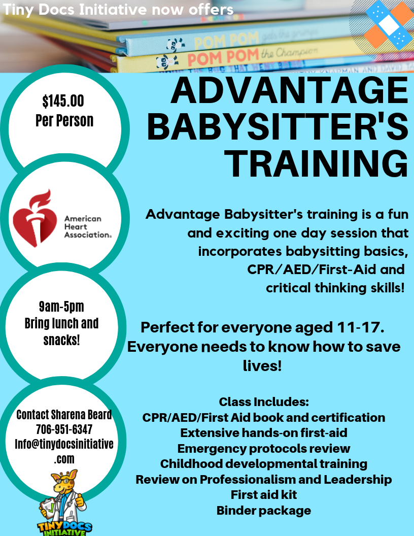 Contact us for more information!Now scheduling groups of sitters! - Nurse Sharena!706-951-6347info@tinydocsinitiative.com