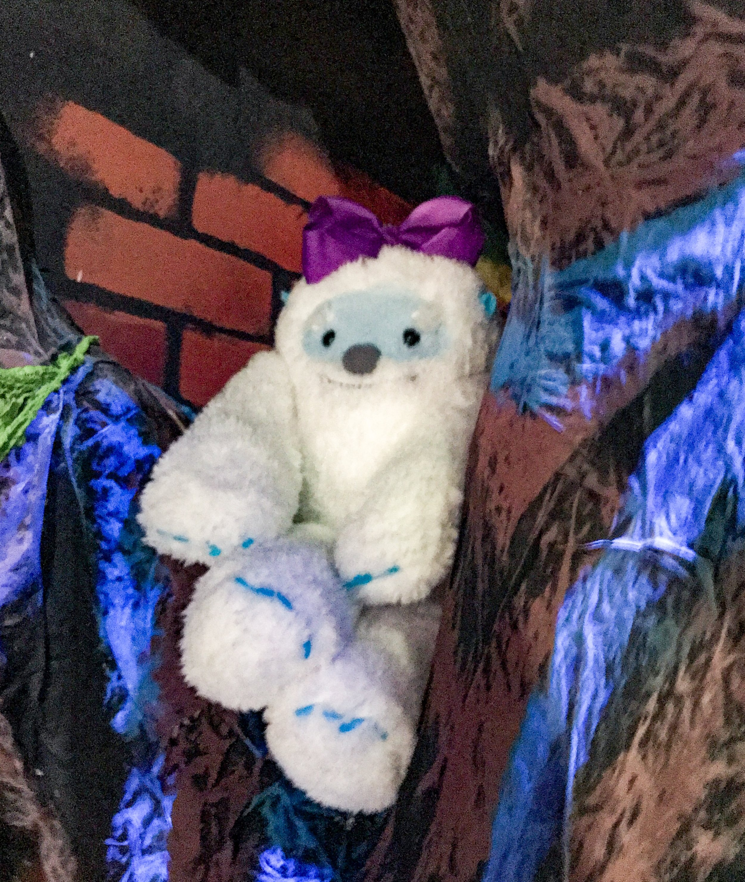 Gertie the Yeti at The Children's Museum of Indianapolis. Gertie is in every room of Grim-nasium.