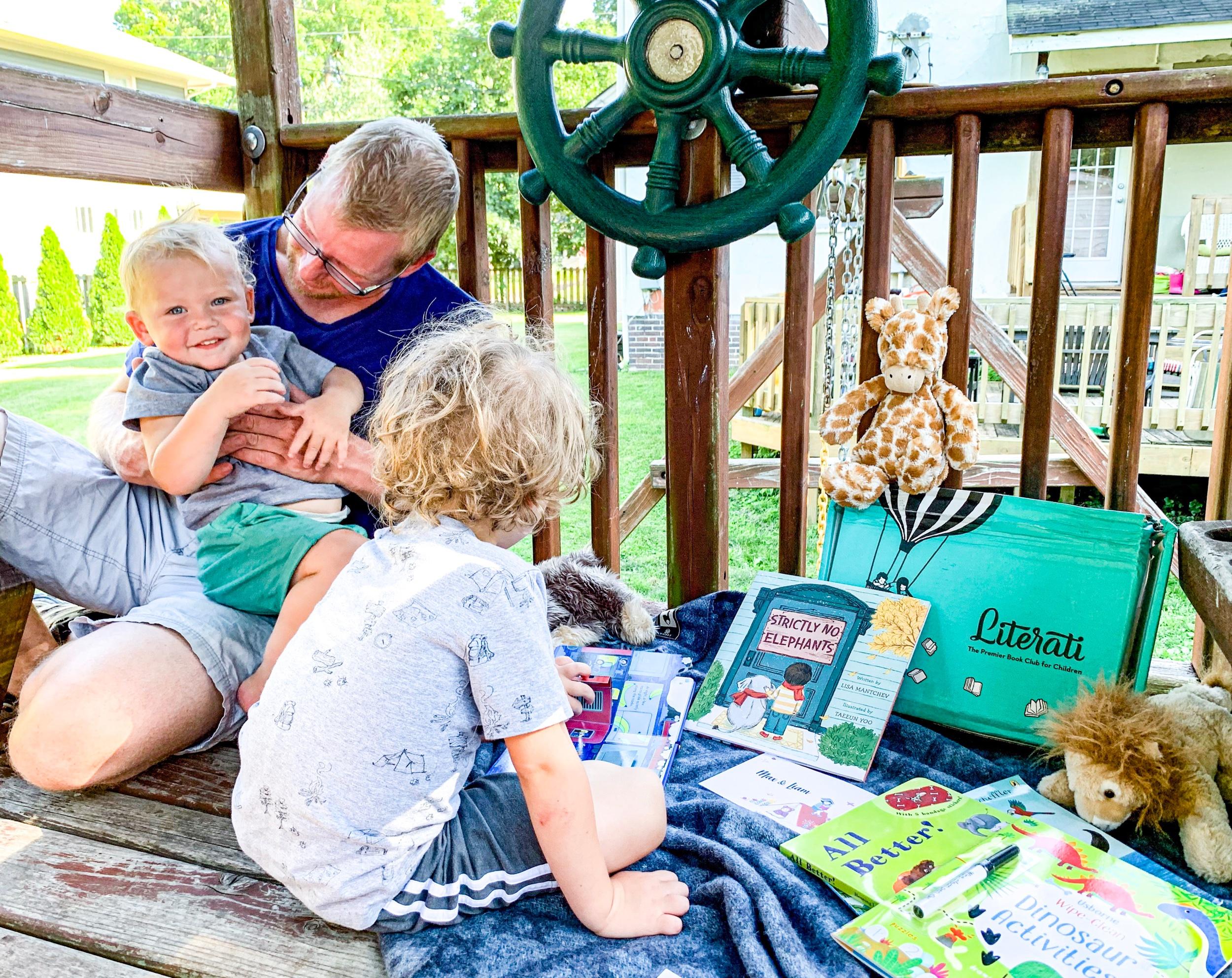 Chris, Max, & Liam exploring our Literati Box
