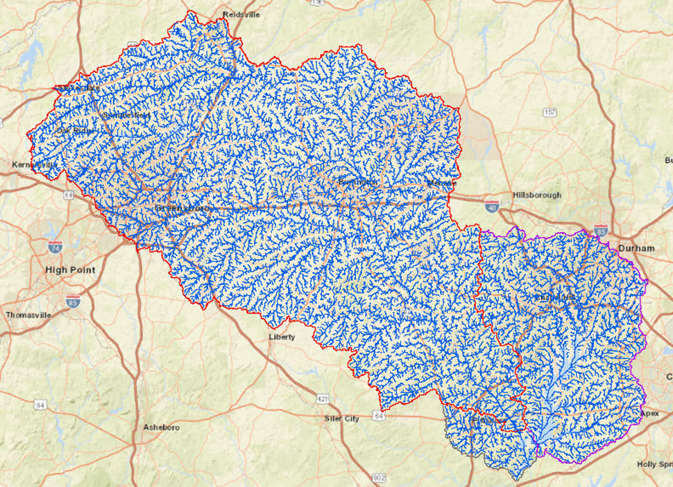 Heavy red line represents boundary of the Haw River Watershed (1,400 square miles) and heavy pink line, the boundary of the New Hope Creed Watershed (300 square miles. Many, many little creeks, streams and rivers feed into these two major sources that enter Jordan Lake.