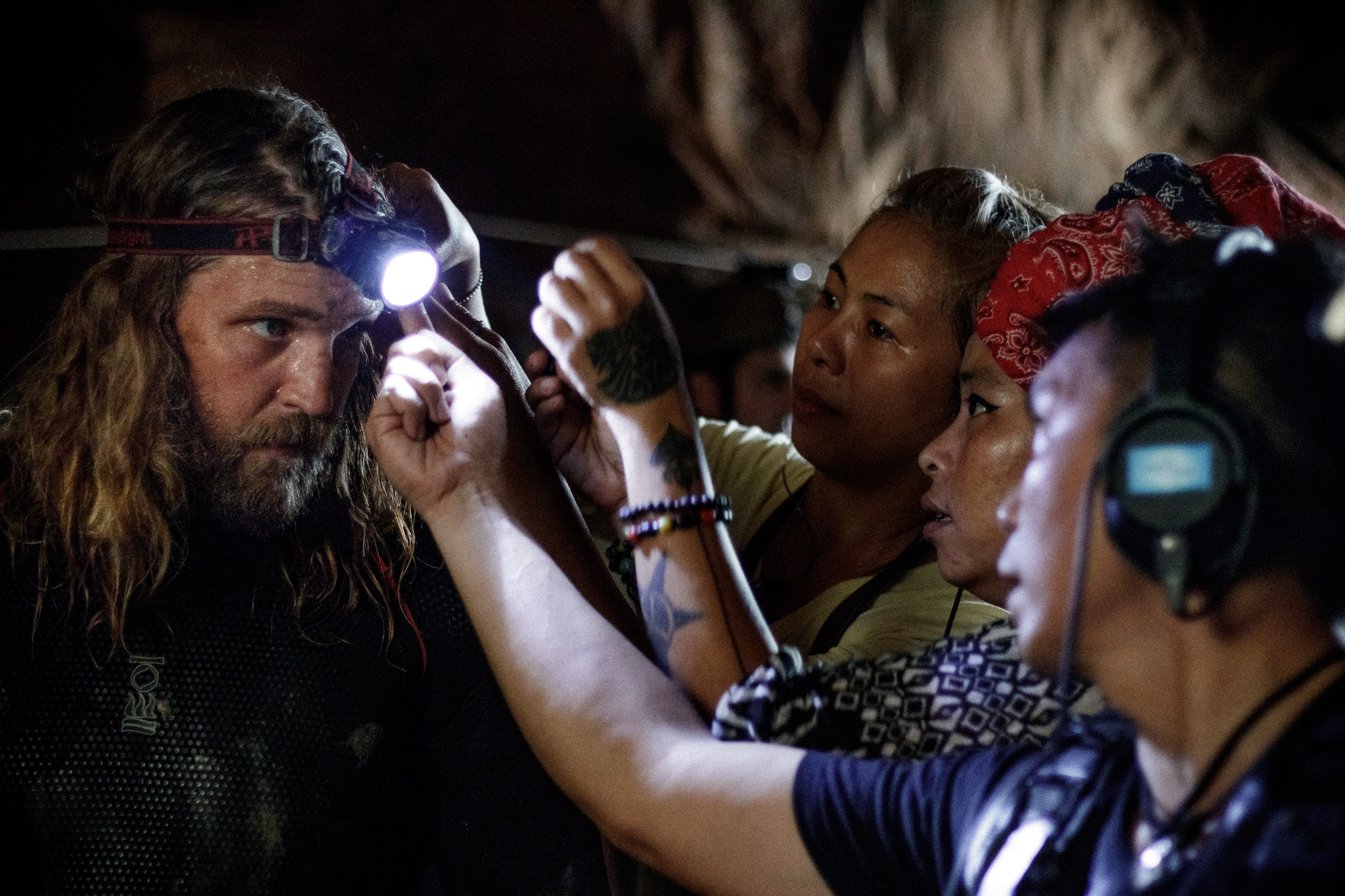 Cave rescue diver Erik Brown prepares for a scene shooting on location in Thailand for writer/director Tom Waller's 'THE CAVE'. Photo by Fredrik Divall (c) De Warrenne Pictures Co. Ltd. All Rights Reserved.