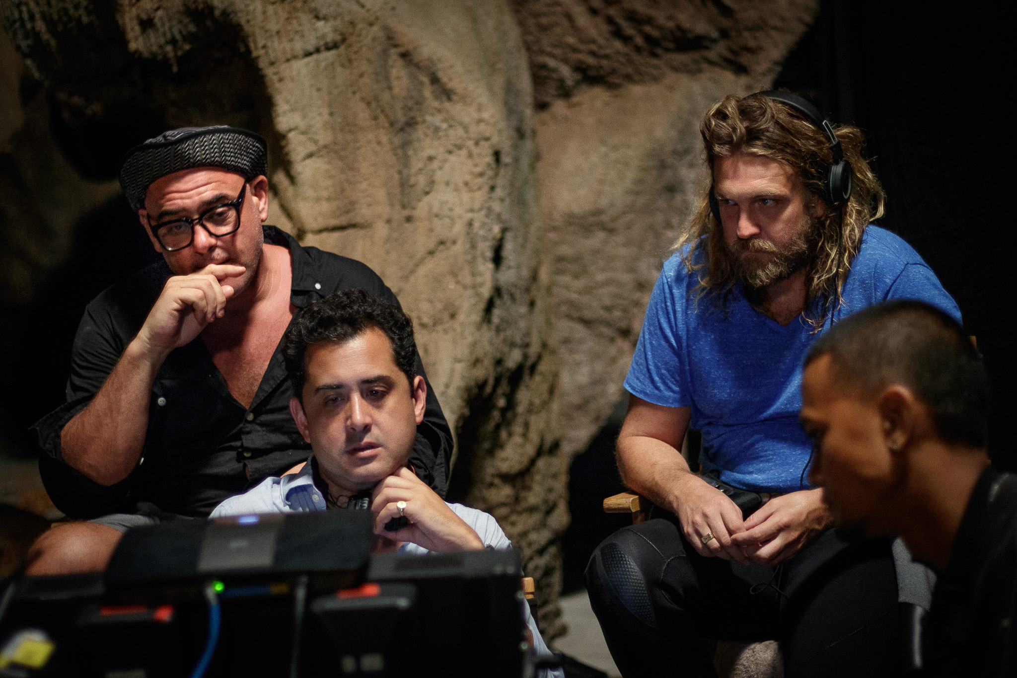 Executive Producer Desmond O'Neill and Writer/director Tom Waller on the set of 'THE CAVE' with cave rescue diver Erik Brown on location in Thailand. Photo by Fredrik Divall (c) De Warrenne Pictures Co. Ltd. All Rights Reserved.