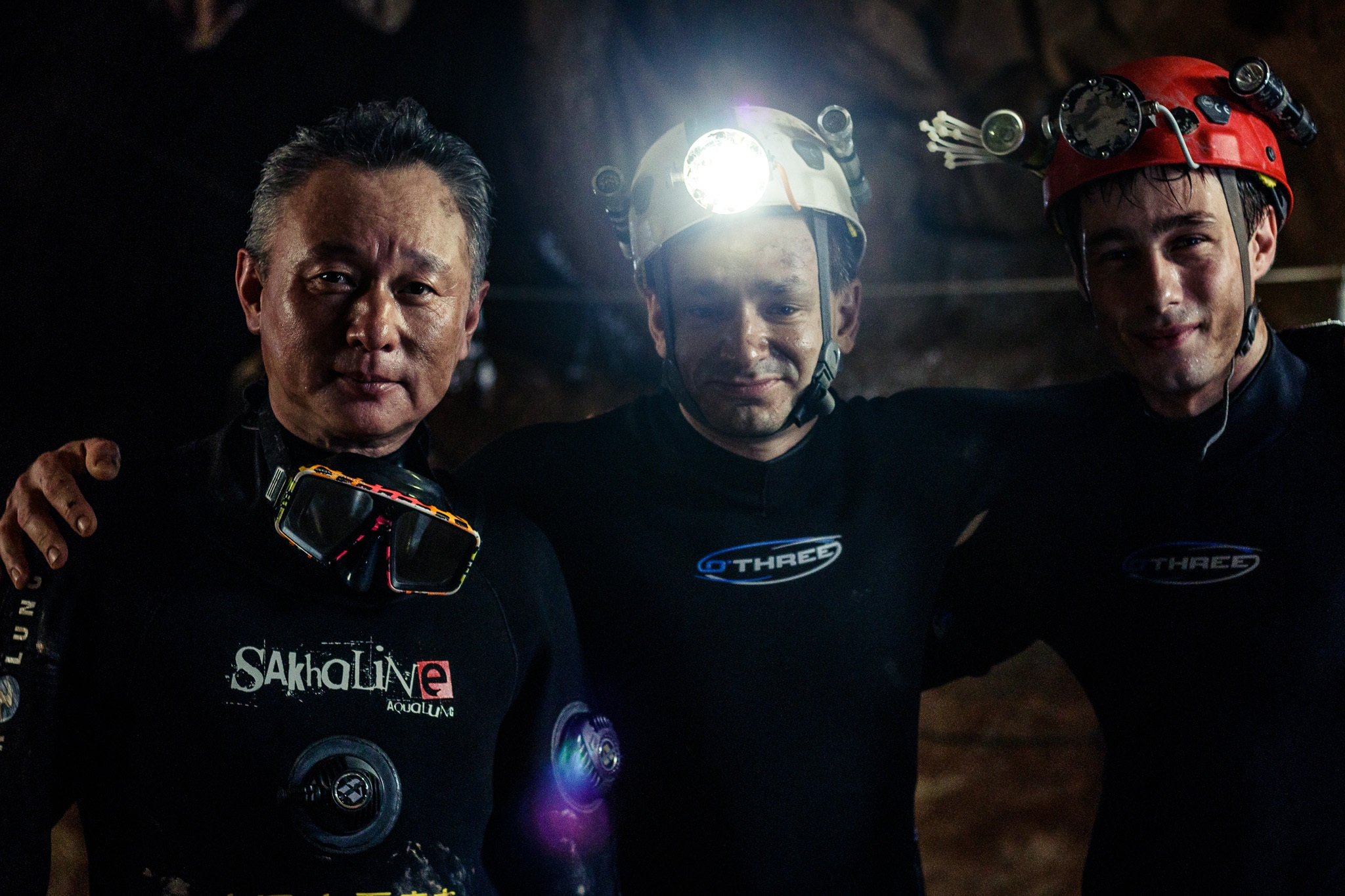 003 - Cave divers Tan Xiaolong, Jim Warny and actor Alex Winslow on the set of writer/director Tom Waller's 'THE CAVE' in Thailand. Photo by Fredrik Divall (c) De Warrenne Pictures Co. Ltd. All Rights Reserved.