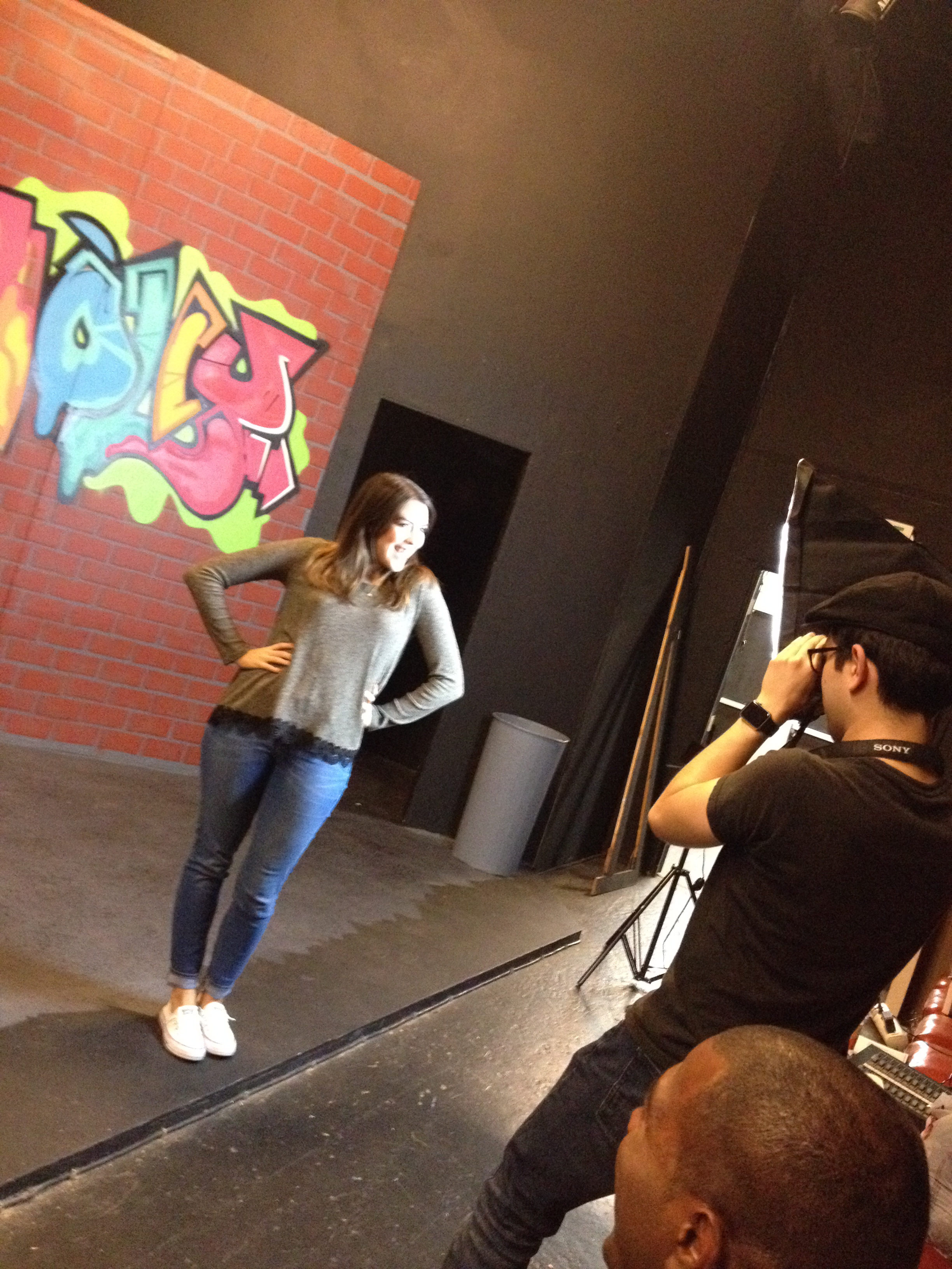 Behind the scenes! - Actress Devin Valdez at a photo call