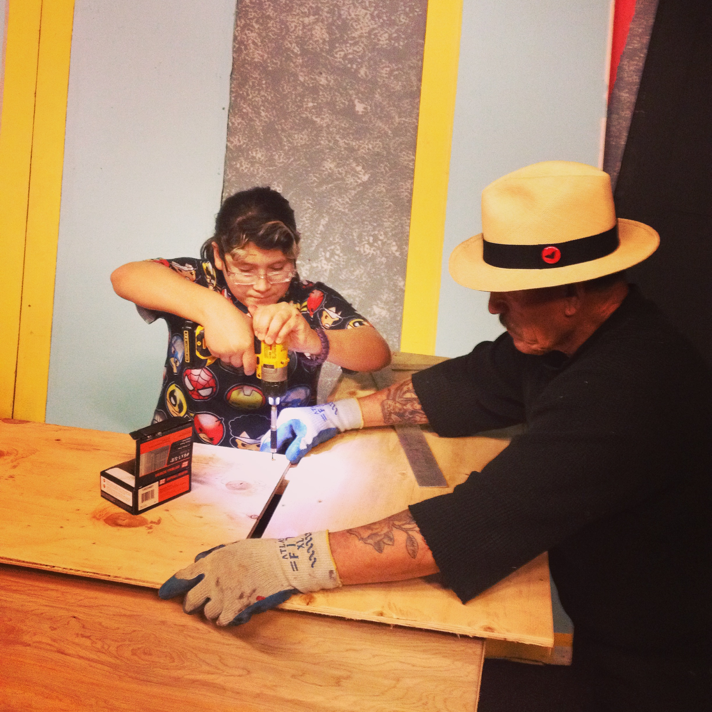 behind the scenes! - Youth Company member, Destiny Silva, helps build the set