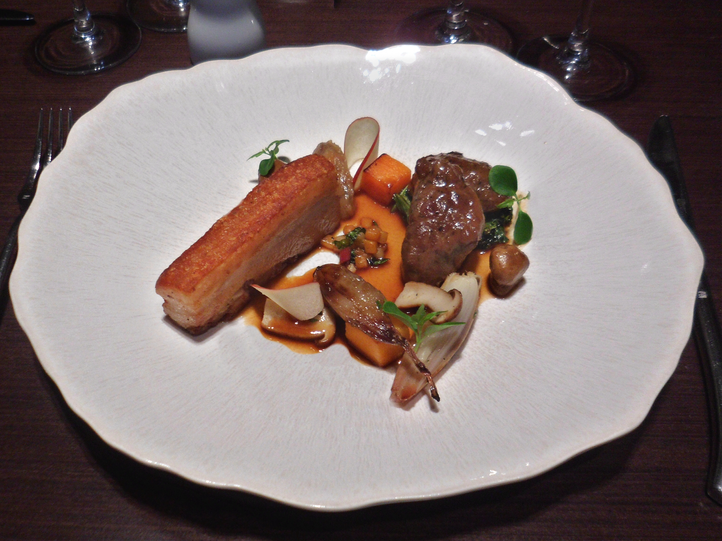 confit belly and cheek of pork, shallots, ceps and carrots