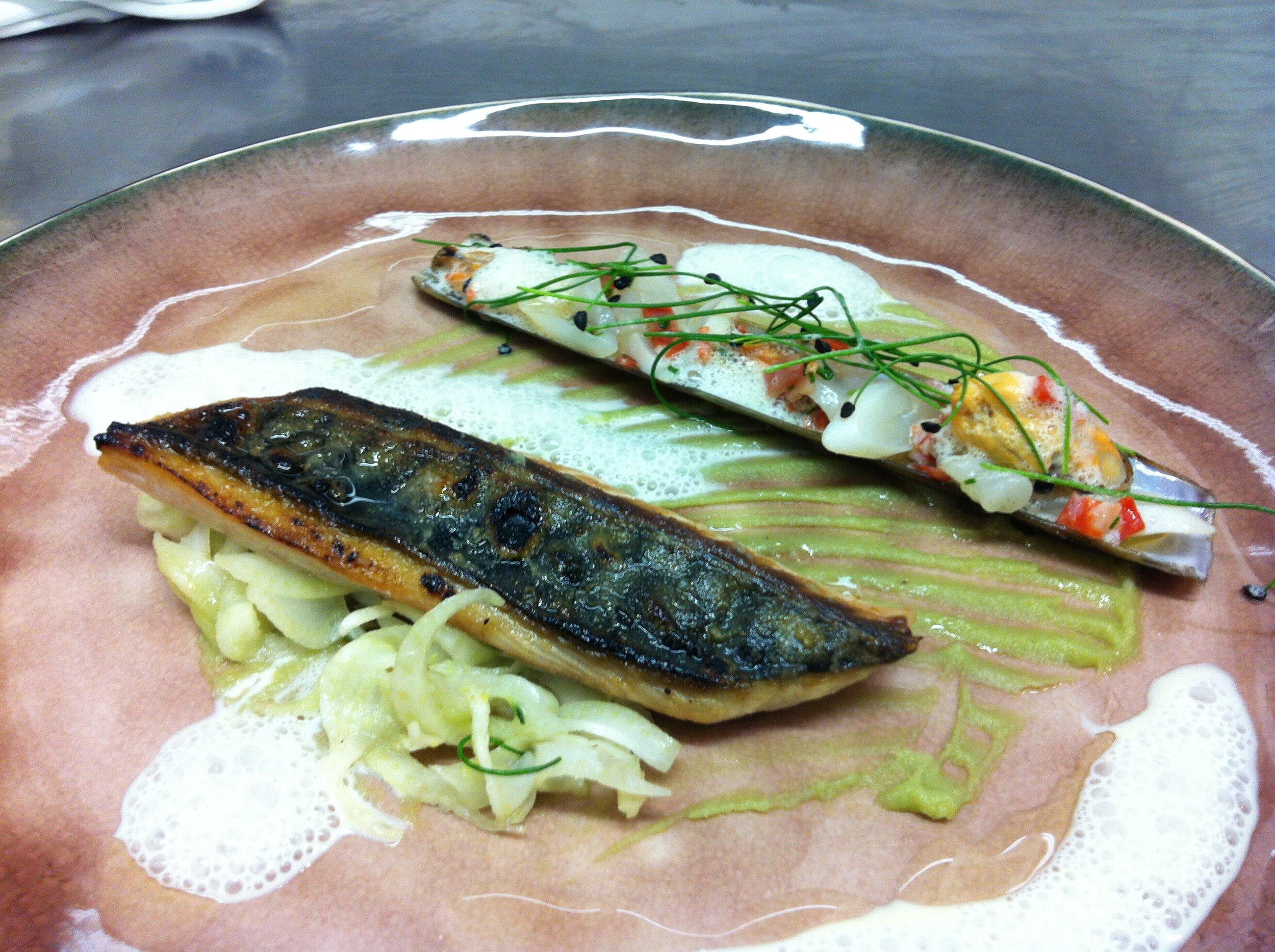 Thai cured mackerel, razor clams and wasabi pea puree
