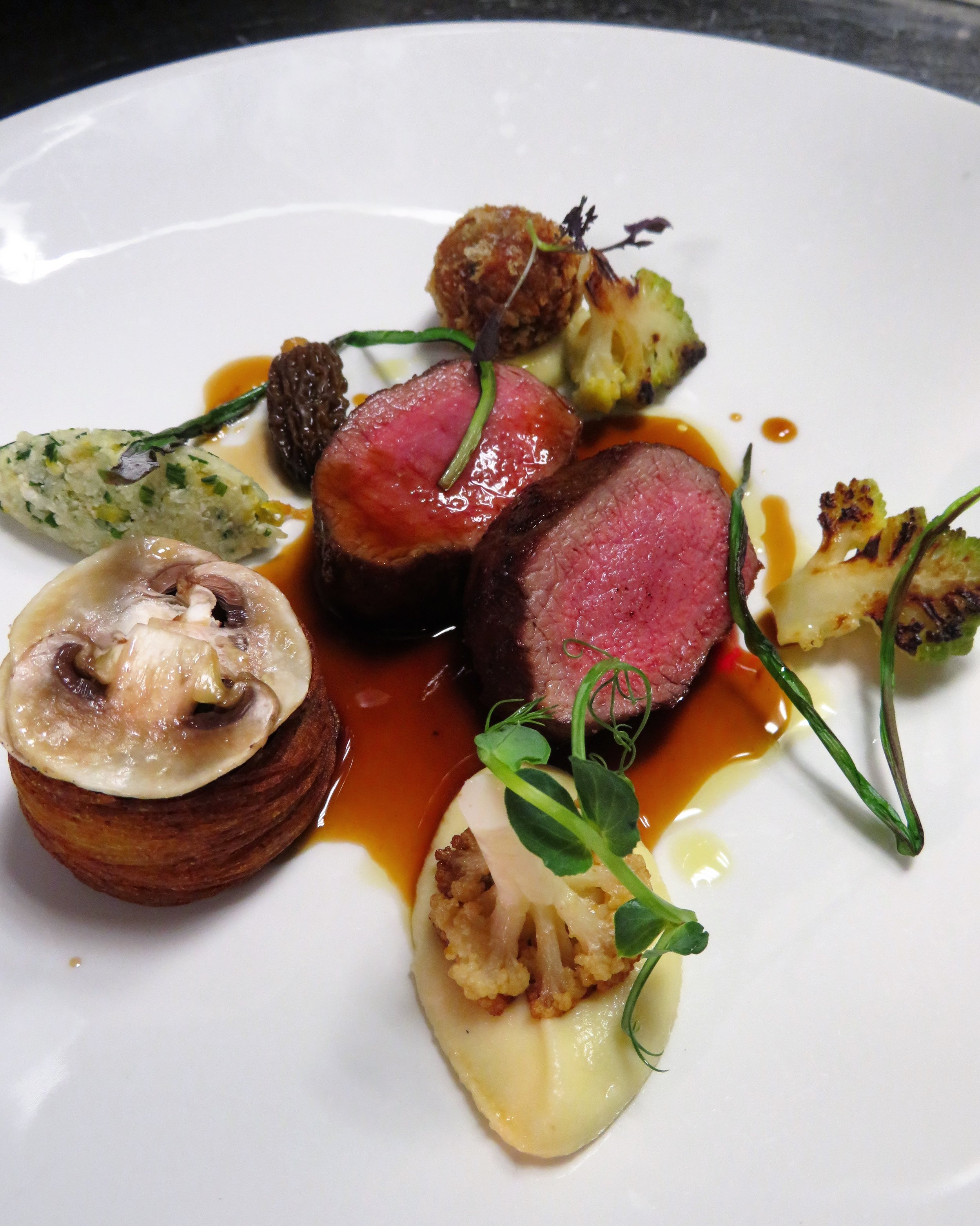loin of lamb and confit neck, mushroom pie